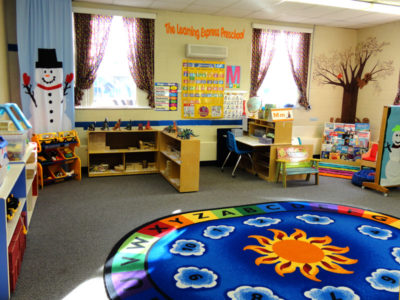 Three's & Four's Preschool Classroom - Circle Time for welcome, calendar, letter of the week, theme introduction, songs, finger plays, and story time