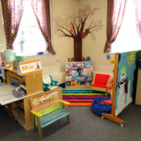 Three's & Four's Preschool Classroom - Library that changes to reflect the current theme